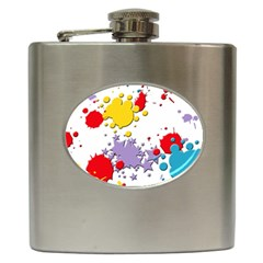 Paint Splash Rainbow Star Hip Flask (6 Oz) by Mariart