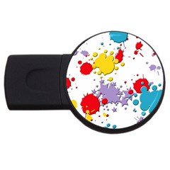 Paint Splash Rainbow Star Usb Flash Drive Round (4 Gb) by Mariart