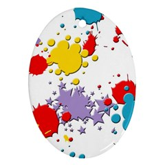 Paint Splash Rainbow Star Oval Ornament (two Sides) by Mariart