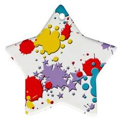 Paint Splash Rainbow Star Star Ornament (two Sides) by Mariart