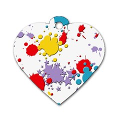 Paint Splash Rainbow Star Dog Tag Heart (one Side) by Mariart