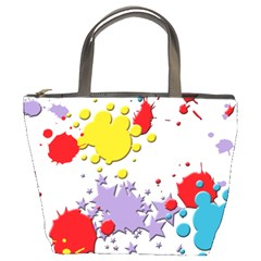 Paint Splash Rainbow Star Bucket Bags by Mariart