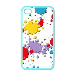 Paint Splash Rainbow Star Apple Iphone 4 Case (color) by Mariart