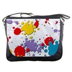 Paint Splash Rainbow Star Messenger Bags by Mariart