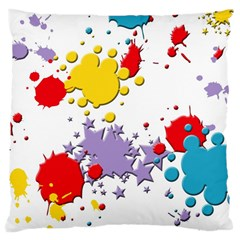 Paint Splash Rainbow Star Large Cushion Case (two Sides) by Mariart