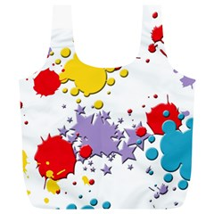Paint Splash Rainbow Star Full Print Recycle Bags (l)  by Mariart