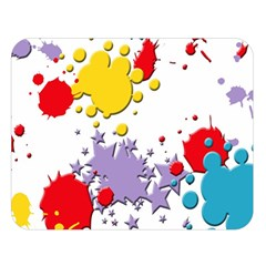 Paint Splash Rainbow Star Double Sided Flano Blanket (large)  by Mariart