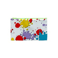 Paint Splash Rainbow Star Cosmetic Bag (xs) by Mariart