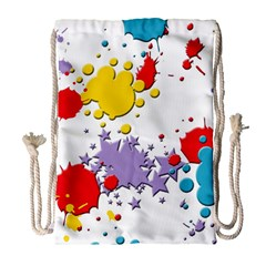 Paint Splash Rainbow Star Drawstring Bag (large) by Mariart