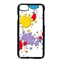 Paint Splash Rainbow Star Apple Iphone 8 Seamless Case (black) by Mariart