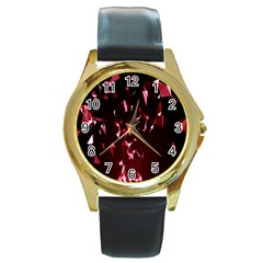 Lying Red Triangle Particles Dark Motion Round Gold Metal Watch by Mariart