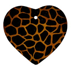 Skin1 Black Marble & Yellow Grunge Ornament (heart) by trendistuff
