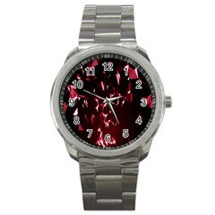 Lying Red Triangle Particles Dark Motion Sport Metal Watch by Mariart
