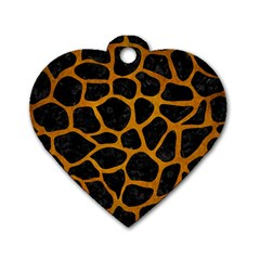 Skin1 Black Marble & Yellow Grunge Dog Tag Heart (one Side) by trendistuff