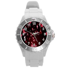 Lying Red Triangle Particles Dark Motion Round Plastic Sport Watch (l) by Mariart