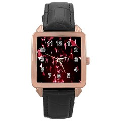 Lying Red Triangle Particles Dark Motion Rose Gold Leather Watch  by Mariart