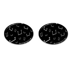 Pit White Black Sign Pattern Cufflinks (oval) by Mariart