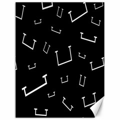 Pit White Black Sign Pattern Canvas 12  X 16   by Mariart