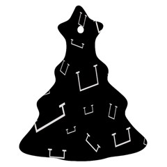 Pit White Black Sign Pattern Christmas Tree Ornament (two Sides) by Mariart