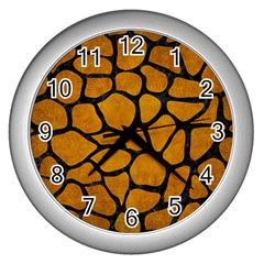 Skin1 Black Marble & Yellow Grunge (r) Wall Clocks (silver)