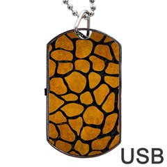 Skin1 Black Marble & Yellow Grunge (r) Dog Tag Usb Flash (two Sides) by trendistuff