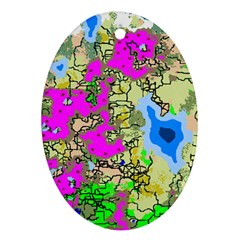 Painting Map Pink Green Blue Street Ornament (oval)