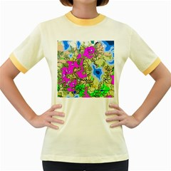 Painting Map Pink Green Blue Street Women s Fitted Ringer T Shirts