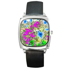 Painting Map Pink Green Blue Street Square Metal Watch by Mariart