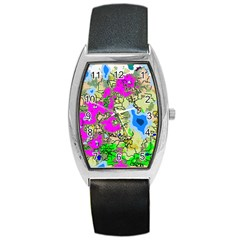 Painting Map Pink Green Blue Street Barrel Style Metal Watch by Mariart