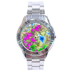 Painting Map Pink Green Blue Street Stainless Steel Analogue Watch by Mariart