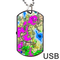 Painting Map Pink Green Blue Street Dog Tag Usb Flash (two Sides) by Mariart