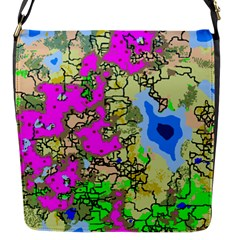 Painting Map Pink Green Blue Street Flap Messenger Bag (s) by Mariart