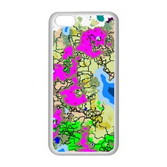 Painting Map Pink Green Blue Street Apple Iphone 5c Seamless Case (white) by Mariart