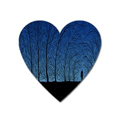 Forest Tree Night Blue Black Man Heart Magnet by Mariart