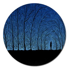 Forest Tree Night Blue Black Man Magnet 5  (round) by Mariart