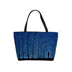 Forest Tree Night Blue Black Man Shoulder Handbags