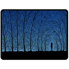 Forest Tree Night Blue Black Man Fleece Blanket (large)  by Mariart