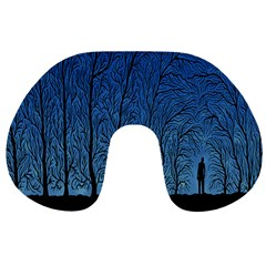 Forest Tree Night Blue Black Man Travel Neck Pillows by Mariart