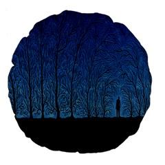 Forest Tree Night Blue Black Man Large 18  Premium Flano Round Cushions