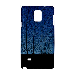 Forest Tree Night Blue Black Man Samsung Galaxy Note 4 Hardshell Case by Mariart