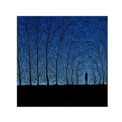 Forest Tree Night Blue Black Man Small Satin Scarf (square) by Mariart