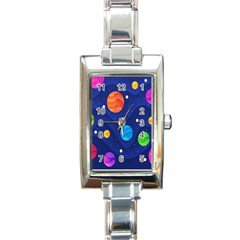 Planet Space Moon Galaxy Sky Blue Polka Rectangle Italian Charm Watch by Mariart
