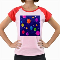 Planet Space Moon Galaxy Sky Blue Polka Women s Cap Sleeve T Shirt by Mariart