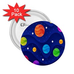 Planet Space Moon Galaxy Sky Blue Polka 2 25  Buttons (10 Pack)