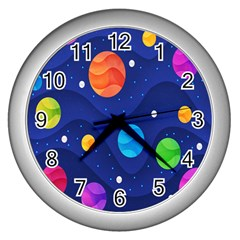 Planet Space Moon Galaxy Sky Blue Polka Wall Clocks (silver)  by Mariart