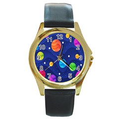 Planet Space Moon Galaxy Sky Blue Polka Round Gold Metal Watch by Mariart