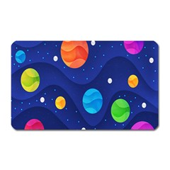 Planet Space Moon Galaxy Sky Blue Polka Magnet (rectangular) by Mariart