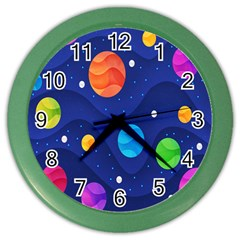 Planet Space Moon Galaxy Sky Blue Polka Color Wall Clocks by Mariart