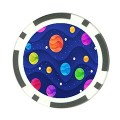 Planet Space Moon Galaxy Sky Blue Polka Poker Chip Card Guard (10 Pack) by Mariart