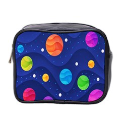 Planet Space Moon Galaxy Sky Blue Polka Mini Toiletries Bag 2 Side by Mariart